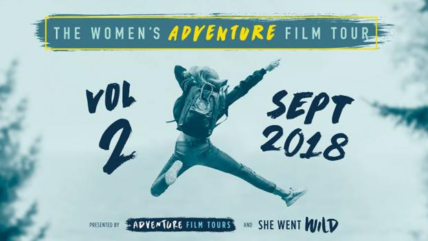 Web banner of the Women's Adventure Film Tour starting in September 2018