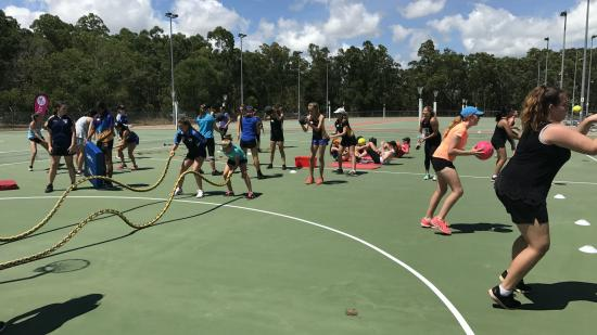 Netfit Darwin coaching clinic girls training with ropes