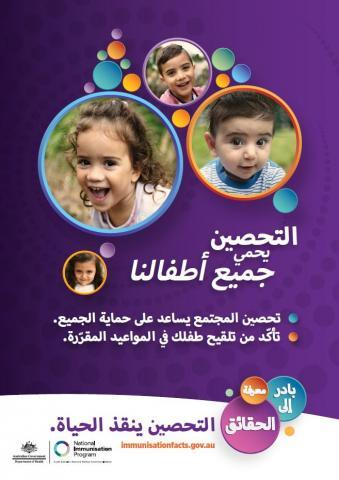 This is an image of a poster in Arabic promoting the Get the facts campaign
